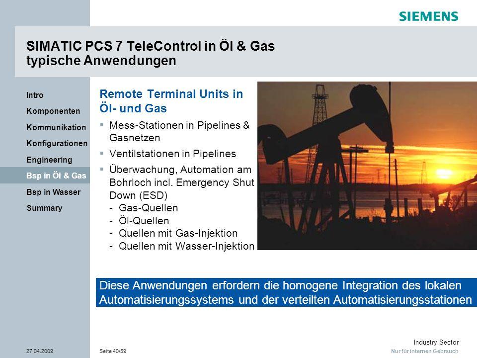 Nur für internen Gebrauch Industry Sector 27.04.2009Seite 40/59 Summary Bsp in Wasser Bsp in Öl & Gas Engineering Konfigurationen Kommunikation Kompon