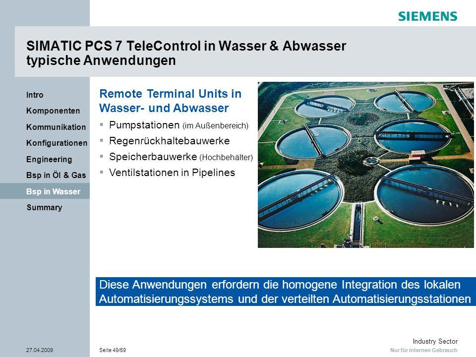 Nur für internen Gebrauch Industry Sector 27.04.2009Seite 49/59 Summary Bsp in Wasser Bsp in Öl & Gas Engineering Konfigurationen Kommunikation Kompon