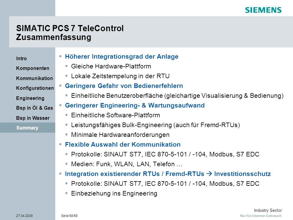 Nur für internen Gebrauch Industry Sector 27.04.2009Seite 58/59 Summary Bsp in Wasser Bsp in Öl & Gas Engineering Konfigurationen Kommunikation Kompon