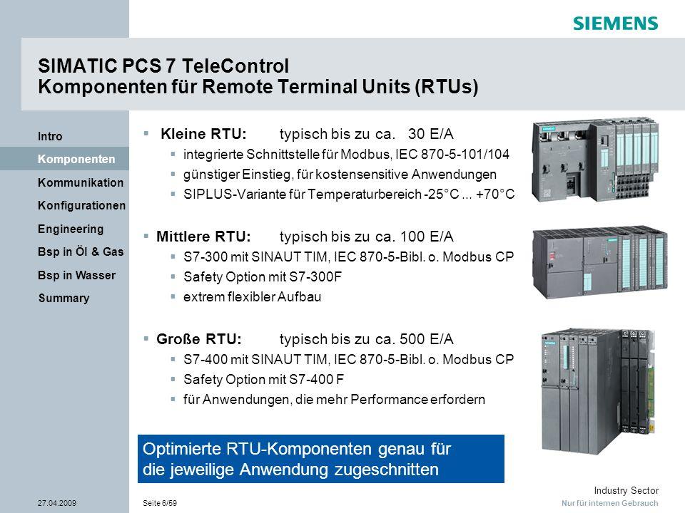 Nur für internen Gebrauch Industry Sector 27.04.2009Seite 17/59 Summary Bsp in Wasser Bsp in Öl & Gas Engineering Konfigurationen Kommunikation Komponenten Intro SIMATIC PCS 7 TeleControl Unterstützte Funktionalitäten der verschiedenen Protokolle Protokoll Wähl- Verbind- ungen Stand- ltg.