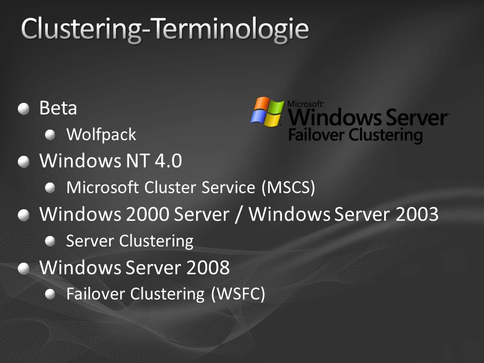 Beta Wolfpack Windows NT 4.0 Microsoft Cluster Service (MSCS) Windows 2000 Server / Windows Server 2003 Server Clustering Windows Server 2008 Failover Clustering (WSFC)