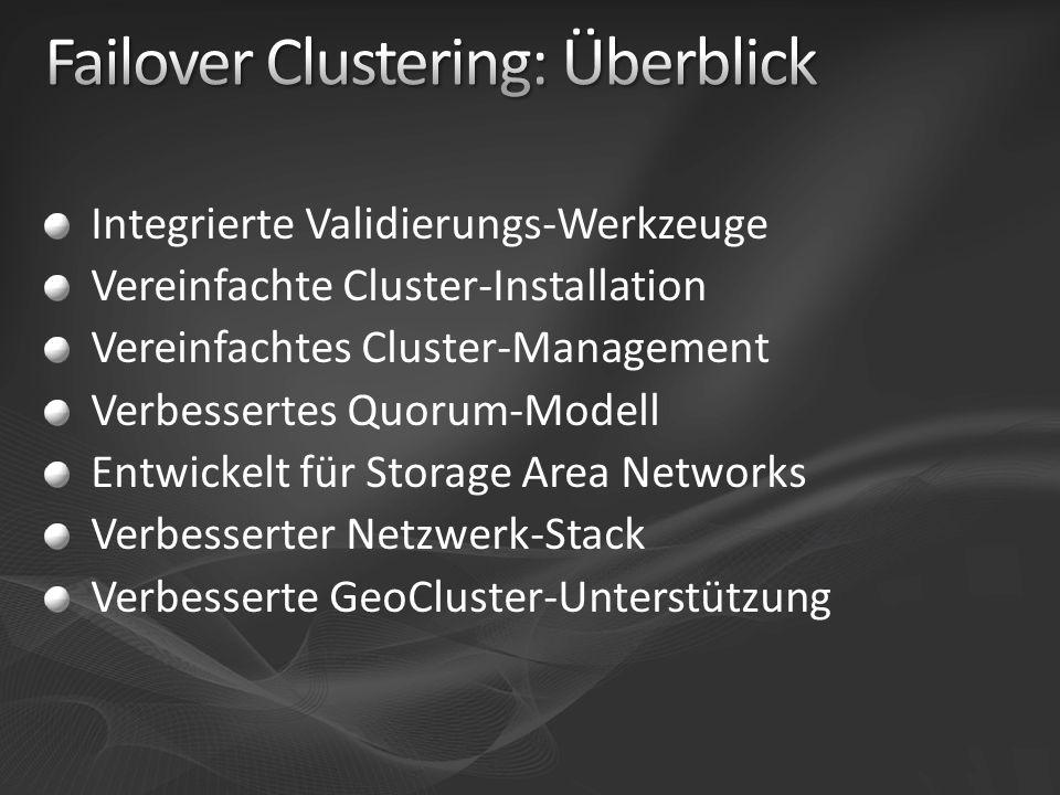 Verbesserte Unterstützung für Hardware Snapshot und Snapshot-Wiederherstellung Verhindert die Disk-Überwachung durch den Cluster Temporärer exklusiver Zugriff auf Disk- Resourcen im Online-Modus