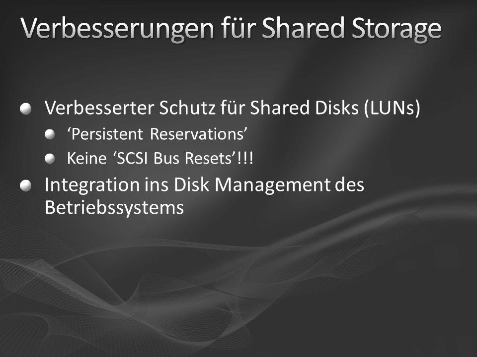 Verbesserter Schutz für Shared Disks (LUNs) Persistent Reservations Keine SCSI Bus Resets!!! Integration ins Disk Management des Betriebssystems