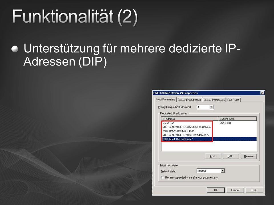 Unterstützung für mehrere dedizierte IP- Adressen (DIP)
