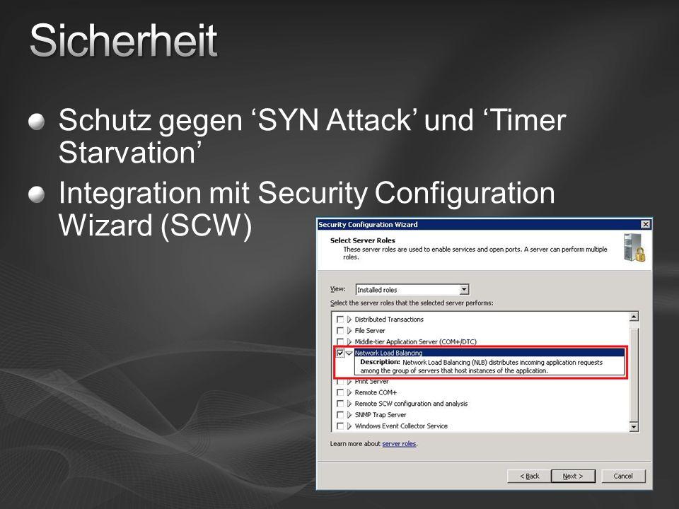 Schutz gegen SYN Attack und Timer Starvation Integration mit Security Configuration Wizard (SCW)
