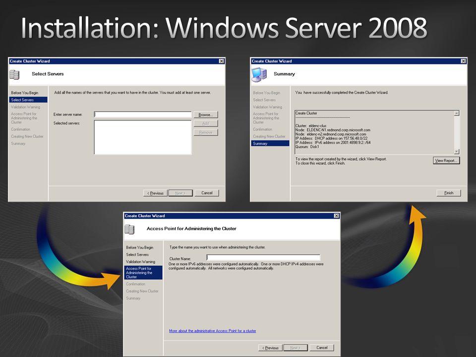 Windows Server 2008 Failover Cluster ist offline und bereit Inbetriebnahme: Gruppen auf Cluster 1 Offline, danach auf Cluster 2 Online Resources Offline IP Name Disk File Share IP Name Disk File Share Resources Online