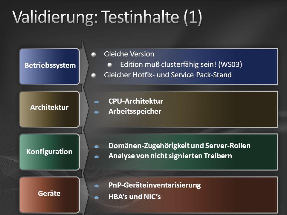 Betriebssystem Architektur Konfiguration Gleiche Version Edition muß clusterfähig sein! (WS03) Gleicher Hotfix- und Service Pack-Stand CPU-Architektur
