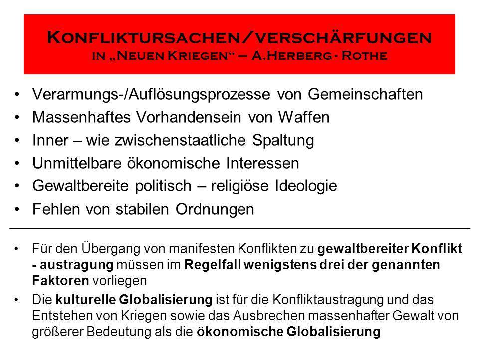 Konfliktursachen/verschärfungen in Neuen Kriegen – A.Herberg - Rothe Verarmungs-/Auflösungsprozesse von Gemeinschaften Massenhaftes Vorhandensein von