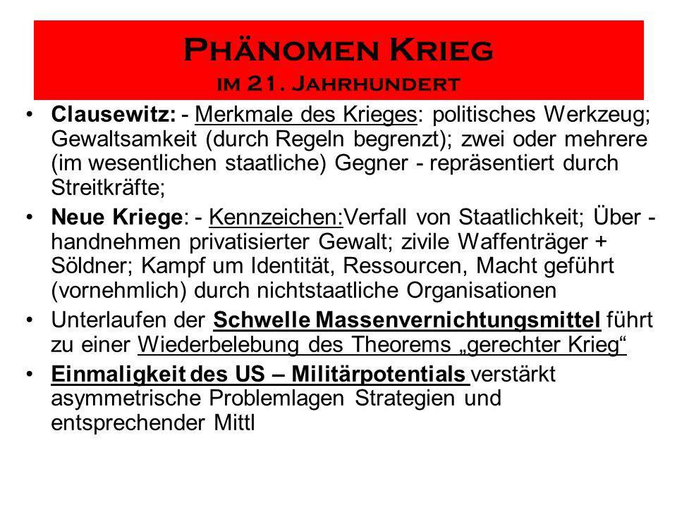 Phänomen Krieg im 21. Jahrhundert Clausewitz: - Merkmale des Krieges: politisches Werkzeug; Gewaltsamkeit (durch Regeln begrenzt); zwei oder mehrere (