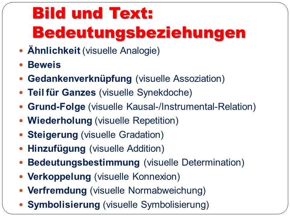Bild und Text: Bedeutungsbeziehungen Ähnlichkeit (visuelle Analogie) Beweis Gedankenverknüpfung (visuelle Assoziation) Teil für Ganzes (visuelle Synek