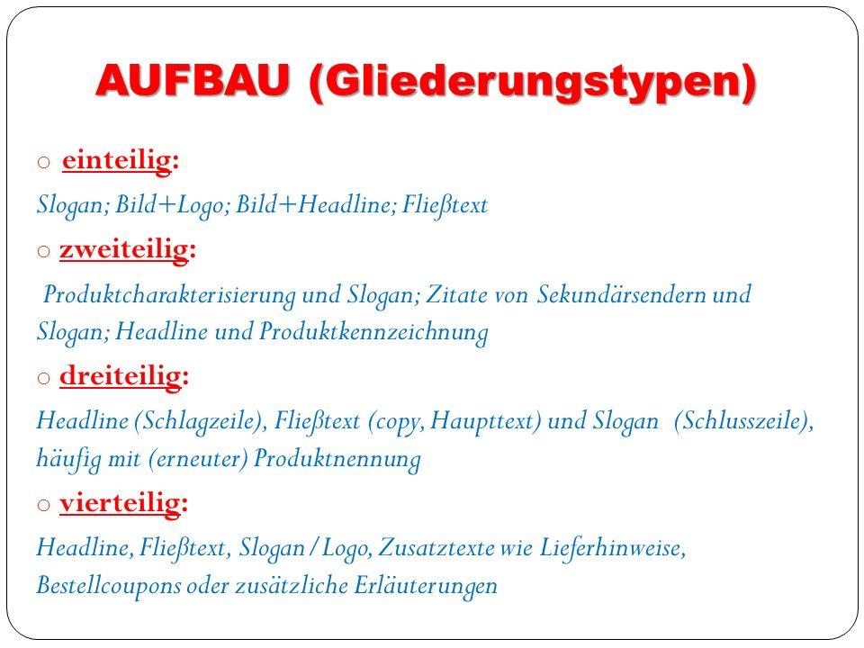 AUFBAU (Gliederungstypen) o einteilig: Slogan; Bild+Logo; Bild+Headline; Fließtext o zweiteilig: Produktcharakterisierung und Slogan; Zitate von Sekun