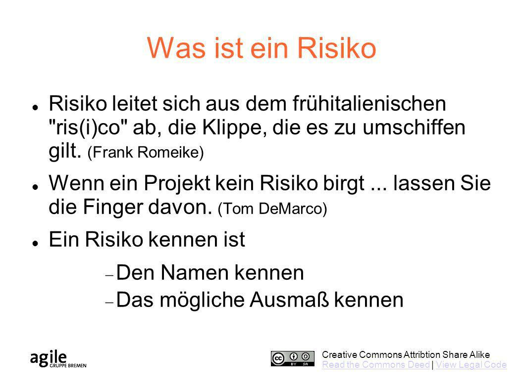 Creative Commons Attribtion Share Alike Read the Commons DeedRead the Commons Deed | View Legal CodeView Legal Code Was ist ein Risiko Risiko leitet s
