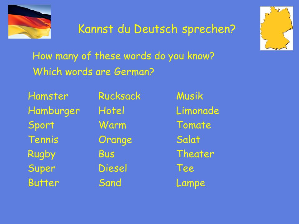 Kannst du Deutsch sprechen? How many of these words do you know? Which words are German? Hamster Hamburger Sport Tennis Rugby Super Butter Musik Limon