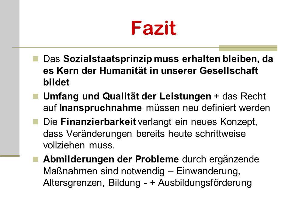 Fazit Das Sozialstaatsprinzip muss erhalten bleiben, da es Kern der Humanität in unserer Gesellschaft bildet Umfang und Qualität der Leistungen + das
