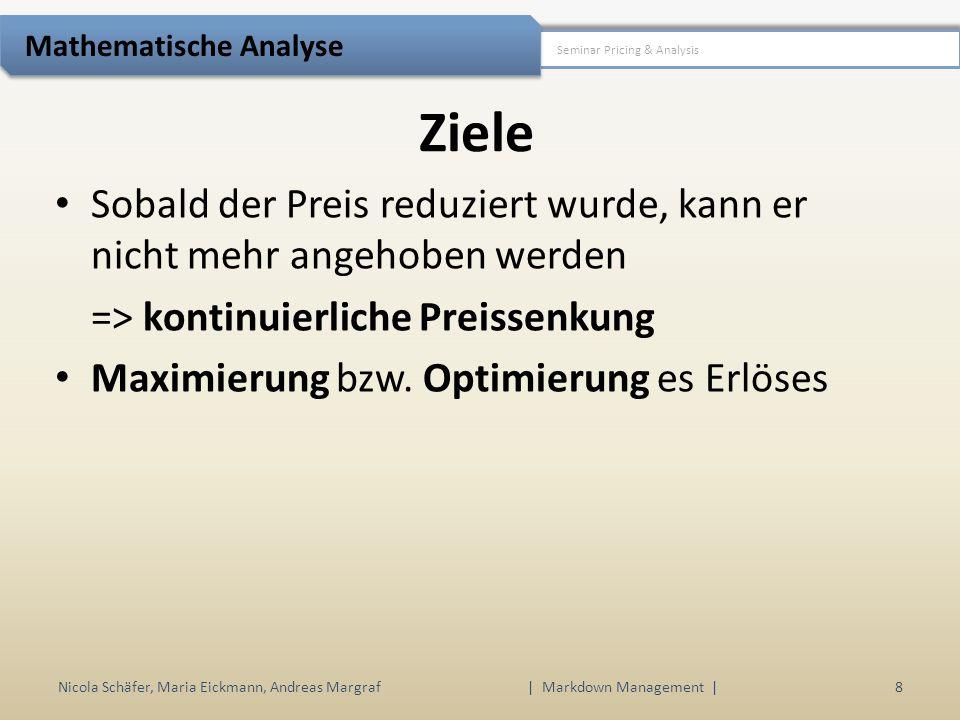 Ziele Nicola Schäfer, Maria Eickmann, Andreas Margraf | Markdown Management | 8 Seminar Pricing & Analysis Mathematische Analyse Sobald der Preis redu