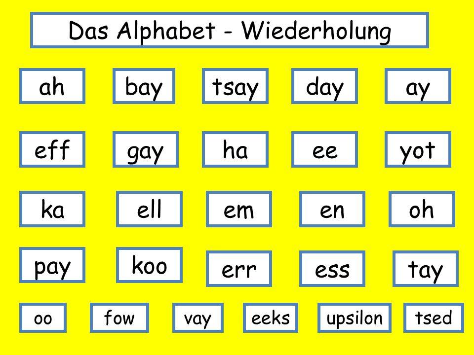 Das Alphabet - Wiederholung ahbaytsaydayay effgayhaeeyot oh koopay enemellka oo tayesserr fowupsiloneeksvaytsed