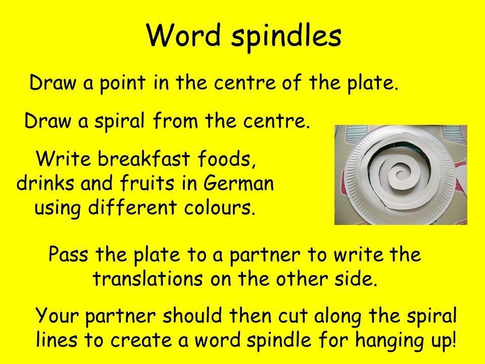 Word spindles Draw a point in the centre of the plate. Draw a spiral from the centre. Write breakfast foods, drinks and fruits in German using differe