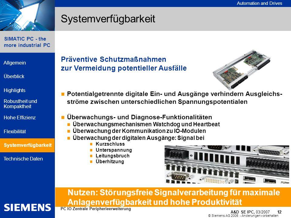 © Siemens AG 2005 - Änderungen vorbehalten A&D SE IPC, 03/2007 12 Automation and Drives 12 SIMATIC PC - the more industrial PC Allgemein Überblick Hig