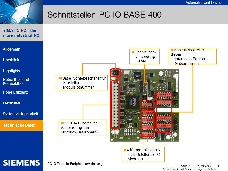 © Siemens AG 2005 - Änderungen vorbehalten A&D SE IPC, 03/2007 13 Automation and Drives 13 SIMATIC PC - the more industrial PC Allgemein Überblick Hig