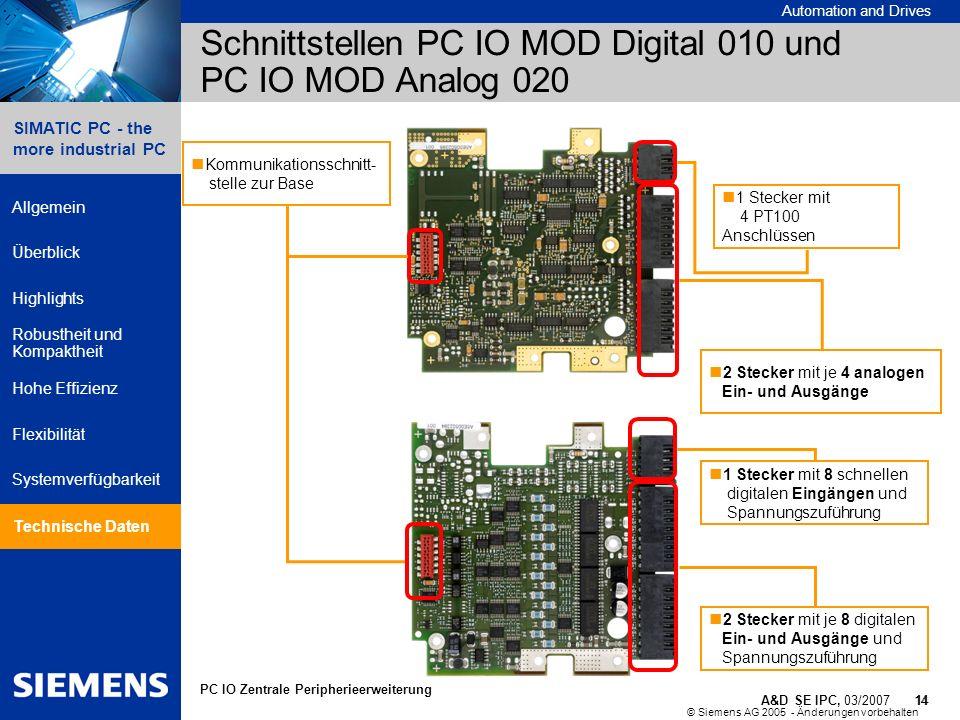 © Siemens AG 2005 - Änderungen vorbehalten A&D SE IPC, 03/2007 14 Automation and Drives 14 SIMATIC PC - the more industrial PC Allgemein Überblick Hig