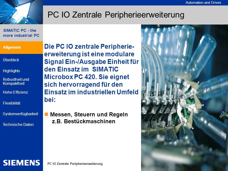 © Siemens AG 2005 - Änderungen vorbehalten A&D SE IPC, 03/2007 3 Automation and Drives 3 SIMATIC PC - the more industrial PC Allgemein Überblick Highlights Robustheit und Kompaktheit Hohe Effizienz Flexibilität Systemverfügbarkeit Technische Daten PC IO Zentrale Peripherieerweiterung PC IO zentrale Peripherieerweiterung Aufbau Die PC IO zentrale Peripherieerweiterung für Microbox PC 420 besteht aus dem Gebererweiterungsrahmen PC IO KIT 040 Verdrahtung der 4 Geber-/Zähler- Schnittstellen zwei Ausführungen von IO-Modulen PC IO MOD Digital 010 24 DI, 16 DO PC IO MOD Analog 020 8 AI, 8 AO, 4 PT100 dem IO-Erweiterungsrahmen PC IO KIT 030 Aufnahme von bis zu 2 IO-Modulen der Basisbaugruppe PC IO Base 400 PCI104-Anschluss Anschlusspunkt für bis zu 4 IO-Modulen 4 Geber-/Zählerschnittstellen Das Konzept Basisbaugruppe mit Anschluss verschiedener IO-Module ermöglicht den skalierbaren, höchst flexiblen und kompakten Aufbau.