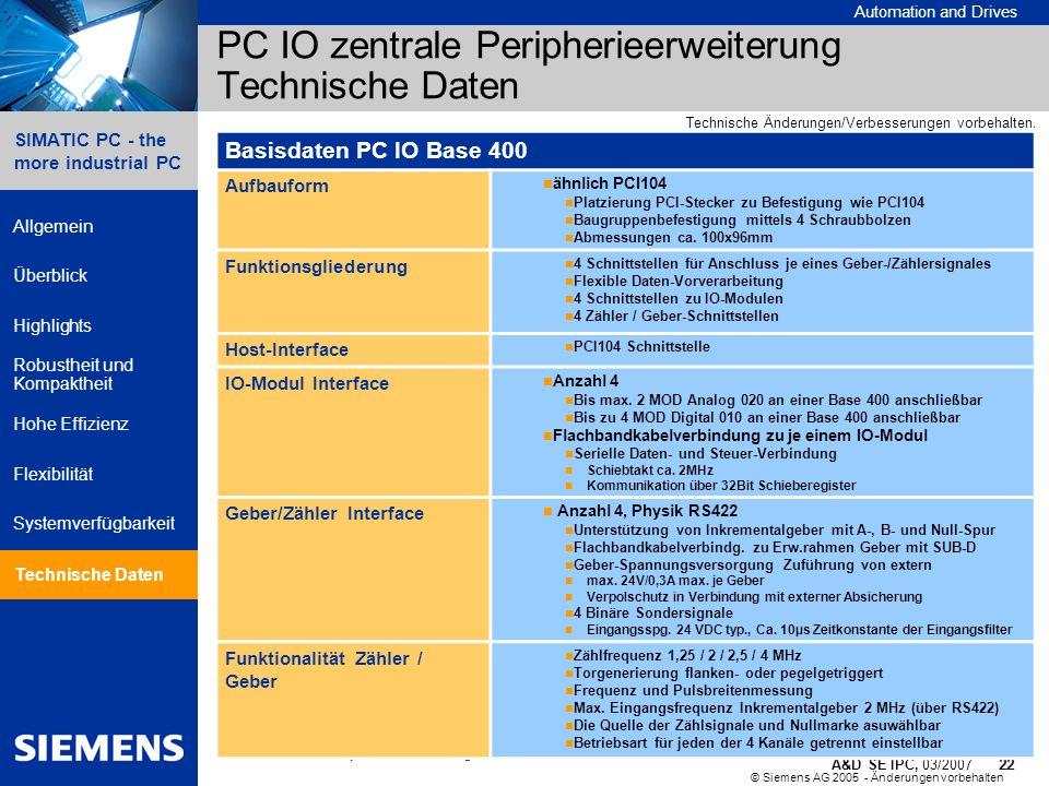 © Siemens AG 2005 - Änderungen vorbehalten A&D SE IPC, 03/2007 22 Automation and Drives 22 SIMATIC PC - the more industrial PC Allgemein Überblick Hig