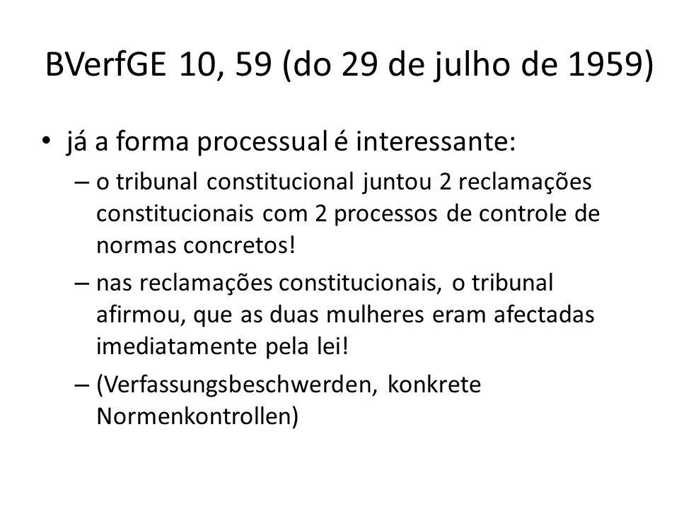 BVerfGE 10, 59 (do 29 de julho de 1959) já a forma processual é interessante: – o tribunal constitucional juntou 2 reclamações constitucionais com 2 p