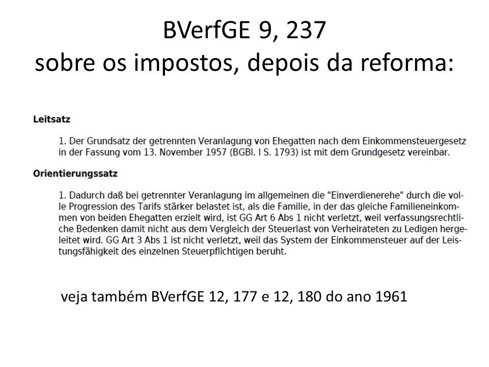 BVerfGE 9, 237 sobre os impostos, depois da reforma: veja também BVerfGE 12, 177 e 12, 180 do ano 1961