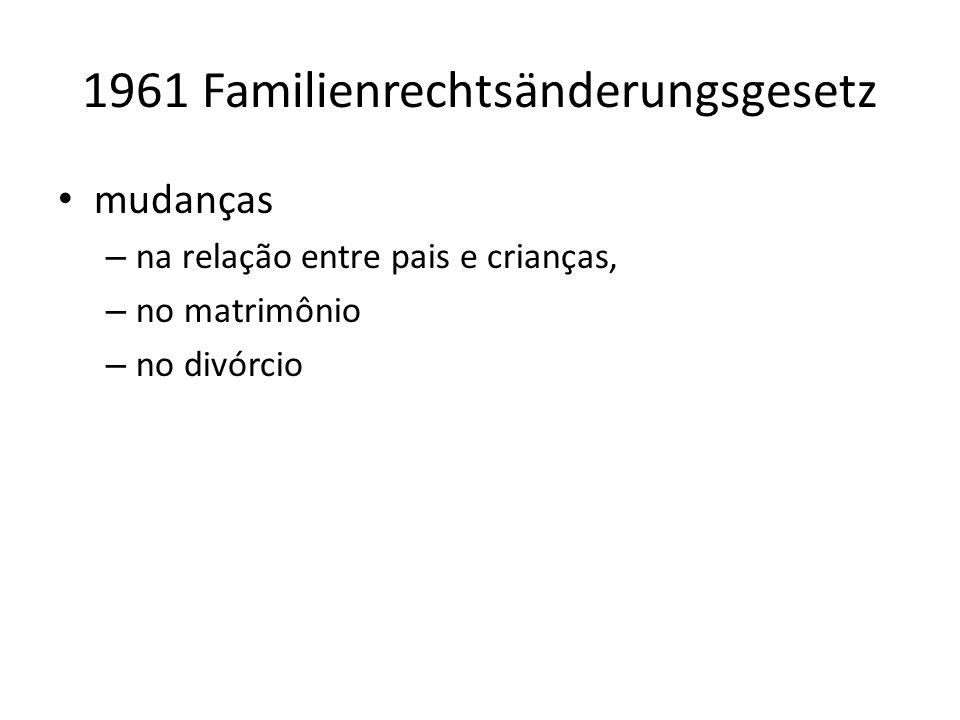 1961 Familienrechtsänderungsgesetz mudanças – na relação entre pais e crianças, – no matrimônio – no divórcio