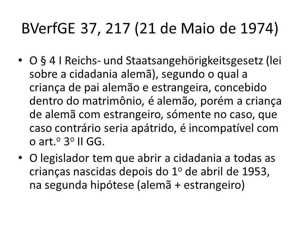 BVerfGE 37, 217 (21 de Maio de 1974) O § 4 I Reichs- und Staatsangehörigkeitsgesetz (lei sobre a cidadania alemã), segundo o qual a criança de pai ale