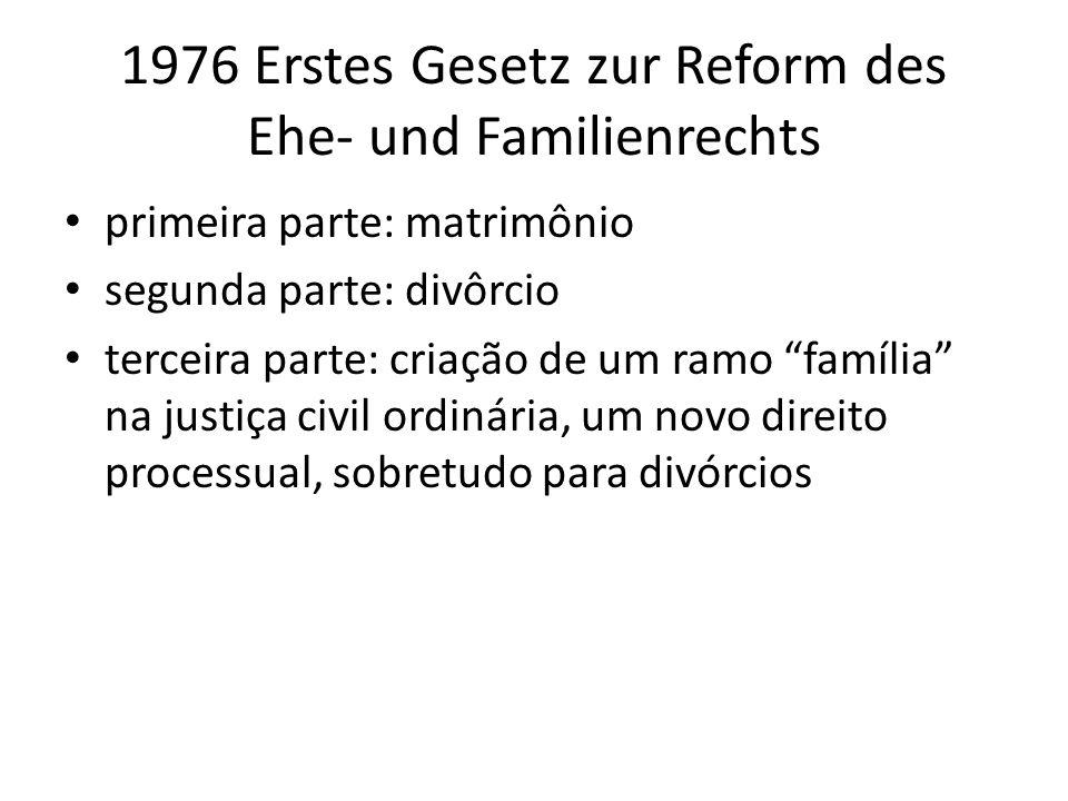 1976 Erstes Gesetz zur Reform des Ehe- und Familienrechts primeira parte: matrimônio segunda parte: divôrcio terceira parte: criação de um ramo famíli