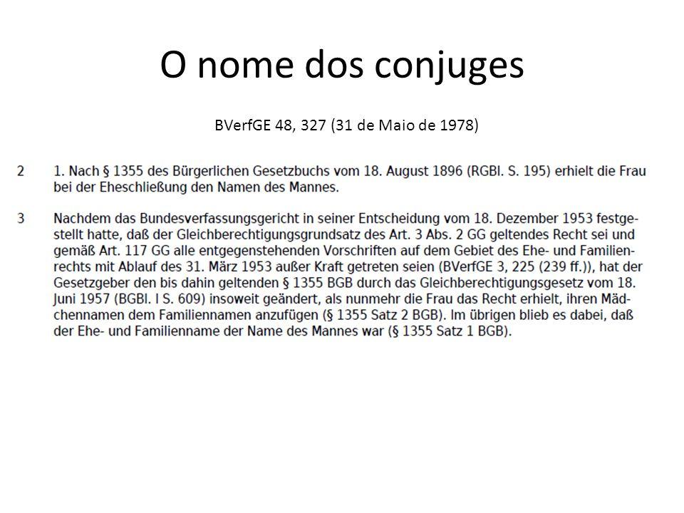 O nome dos conjuges BVerfGE 48, 327 (31 de Maio de 1978)