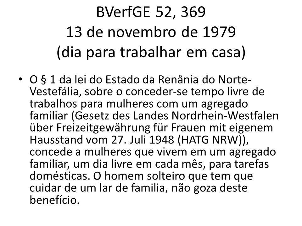 BVerfGE 52, 369 13 de novembro de 1979 (dia para trabalhar em casa) O § 1 da lei do Estado da Renânia do Norte- Vestefália, sobre o conceder-se tempo