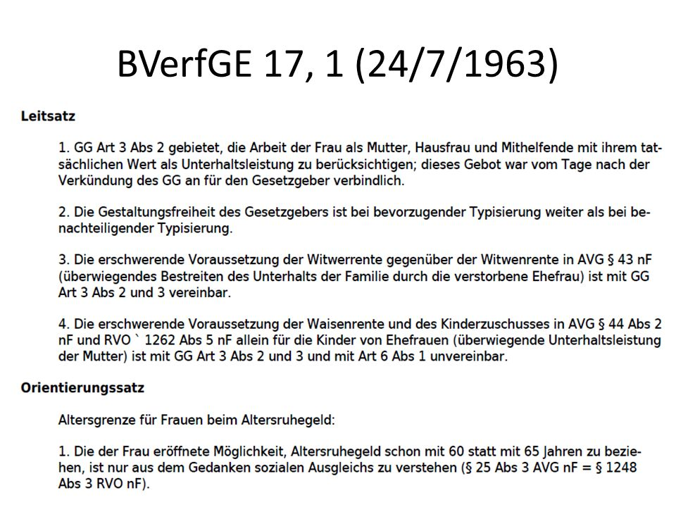 BVerfGE 17, 1 (24/7/1963)