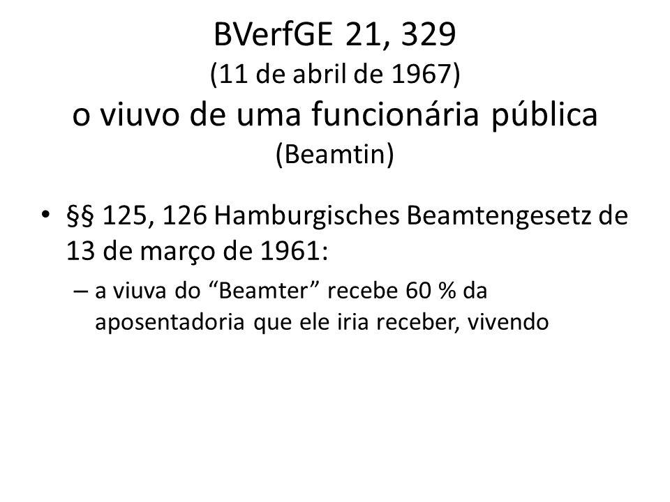 BVerfGE 21, 329 (11 de abril de 1967) o viuvo de uma funcionária pública (Beamtin) §§ 125, 126 Hamburgisches Beamtengesetz de 13 de março de 1961: – a