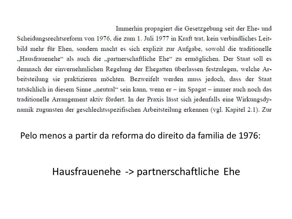 Pelo menos a partir da reforma do direito da familia de 1976: Hausfrauenehe -> partnerschaftliche Ehe