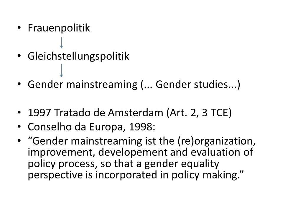 Frauenpolitik Gleichstellungspolitik Gender mainstreaming (... Gender studies...) 1997 Tratado de Amsterdam (Art. 2, 3 TCE) Conselho da Europa, 1998: