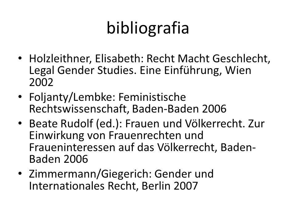 bibliografia Holzleithner, Elisabeth: Recht Macht Geschlecht, Legal Gender Studies. Eine Einführung, Wien 2002 Foljanty/Lembke: Feministische Rechtswi