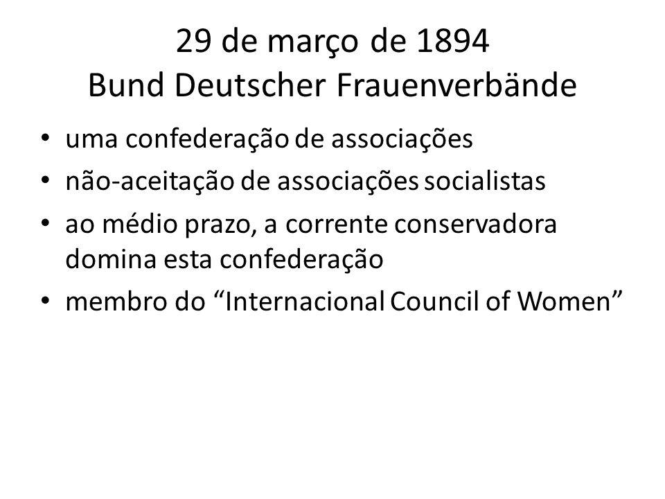 29 de março de 1894 Bund Deutscher Frauenverbände uma confederação de associações não-aceitação de associações socialistas ao médio prazo, a corrente