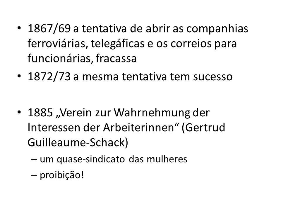 1867/69 a tentativa de abrir as companhias ferroviárias, telegáficas e os correios para funcionárias, fracassa 1872/73 a mesma tentativa tem sucesso 1