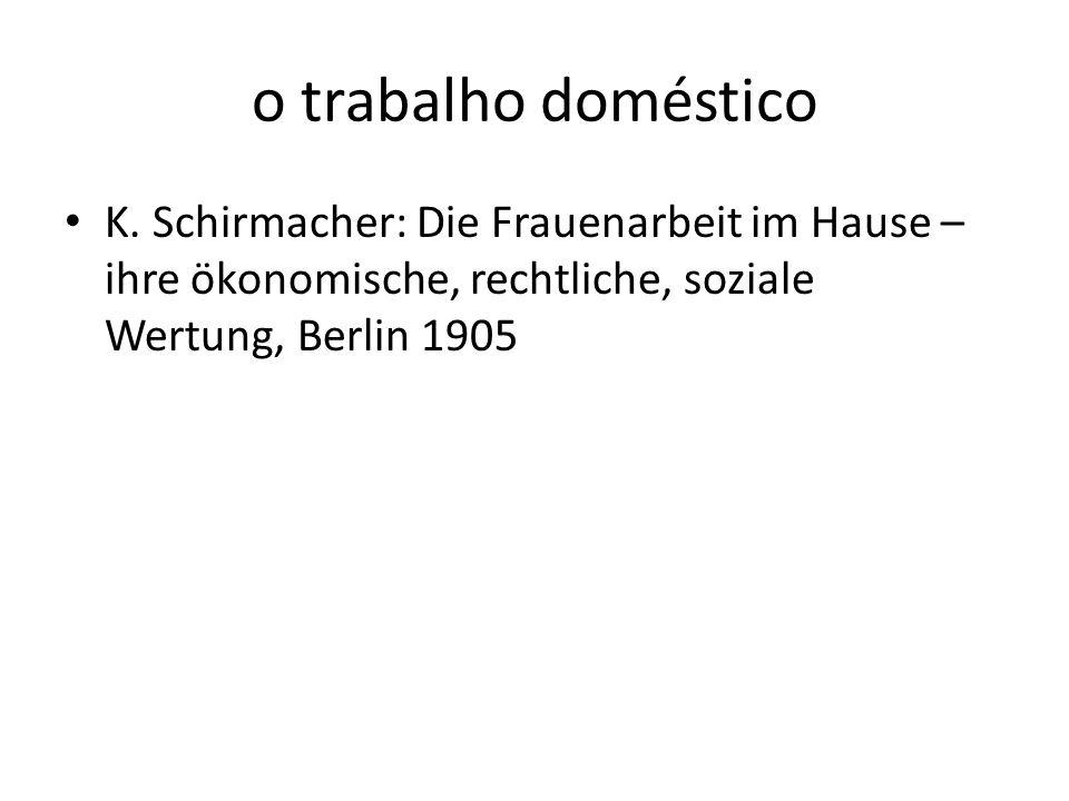 o trabalho doméstico K. Schirmacher: Die Frauenarbeit im Hause – ihre ökonomische, rechtliche, soziale Wertung, Berlin 1905