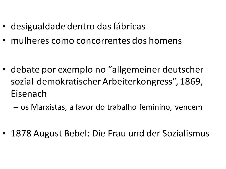 desigualdade dentro das fábricas mulheres como concorrentes dos homens debate por exemplo no allgemeiner deutscher sozial-demokratischer Arbeiterkongr