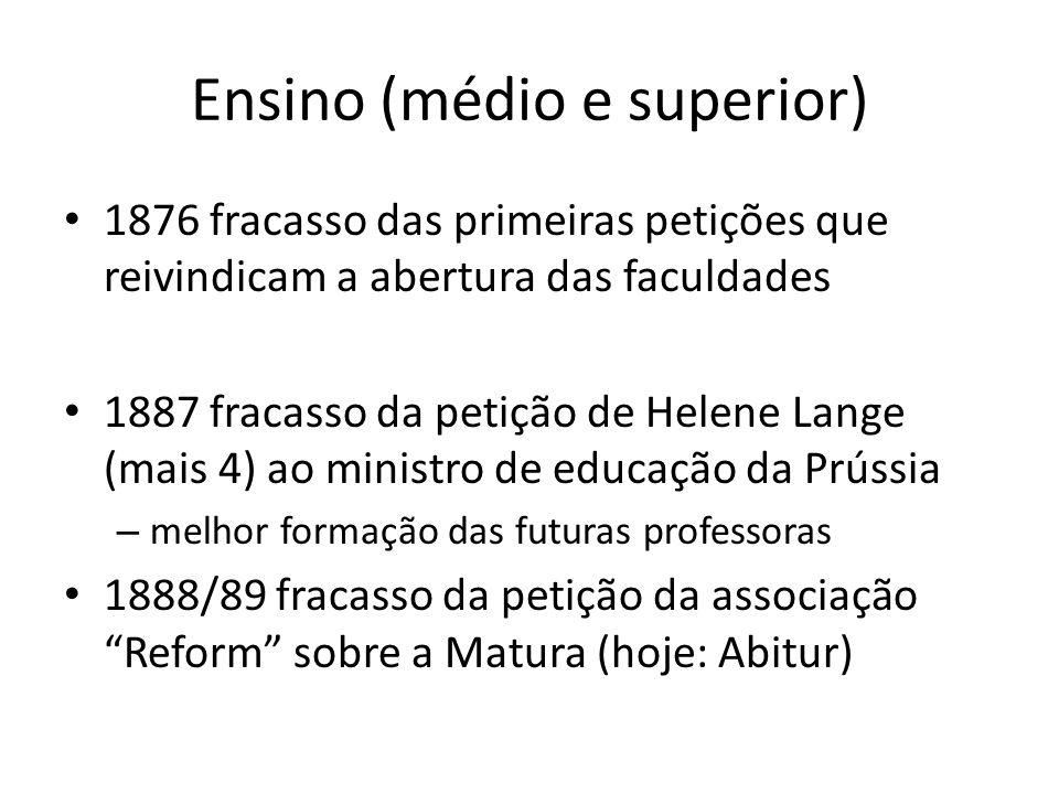 Ensino (médio e superior) 1876 fracasso das primeiras petições que reivindicam a abertura das faculdades 1887 fracasso da petição de Helene Lange (mai