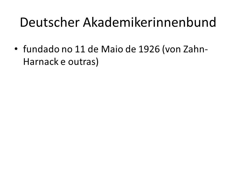 Deutscher Akademikerinnenbund fundado no 11 de Maio de 1926 (von Zahn- Harnack e outras)