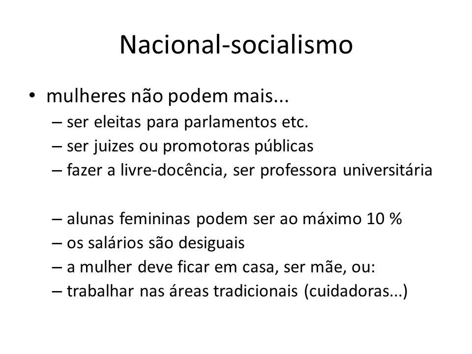 Nacional-socialismo mulheres não podem mais... – ser eleitas para parlamentos etc. – ser juizes ou promotoras públicas – fazer a livre-docência, ser p