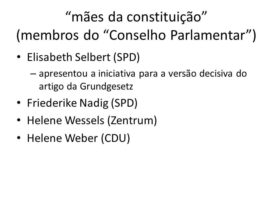 mães da constituição (membros do Conselho Parlamentar) Elisabeth Selbert (SPD) – apresentou a iniciativa para a versão decisiva do artigo da Grundgese