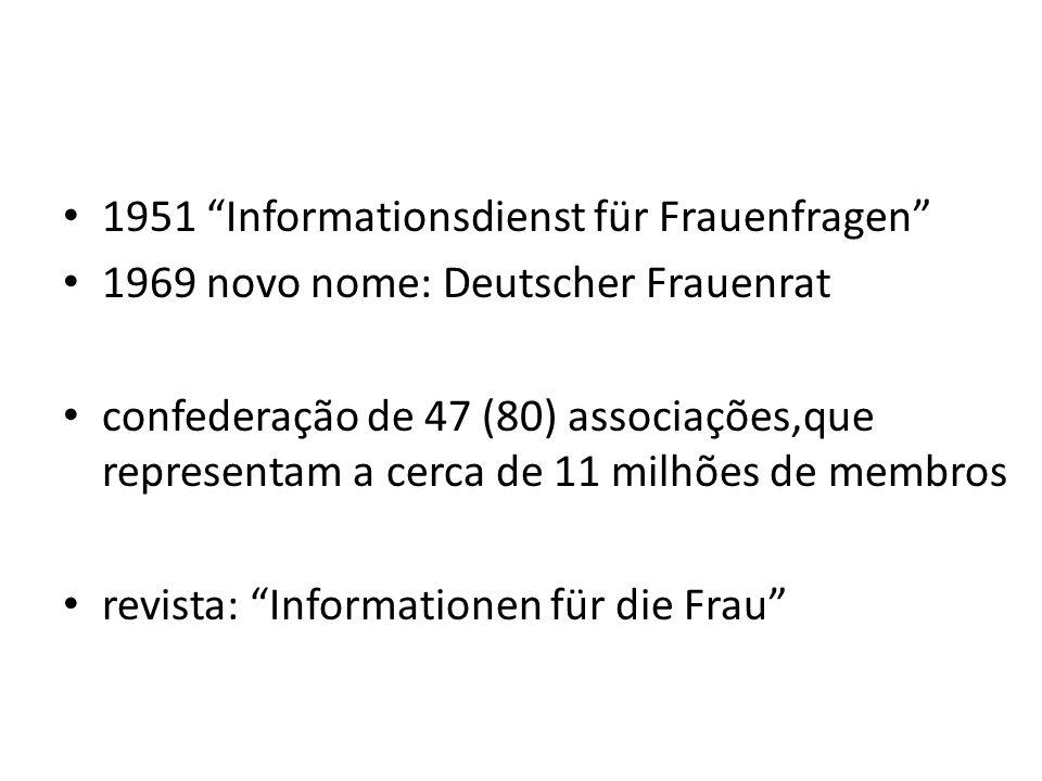 1951 Informationsdienst für Frauenfragen 1969 novo nome: Deutscher Frauenrat confederação de 47 (80) associações,que representam a cerca de 11 milhões