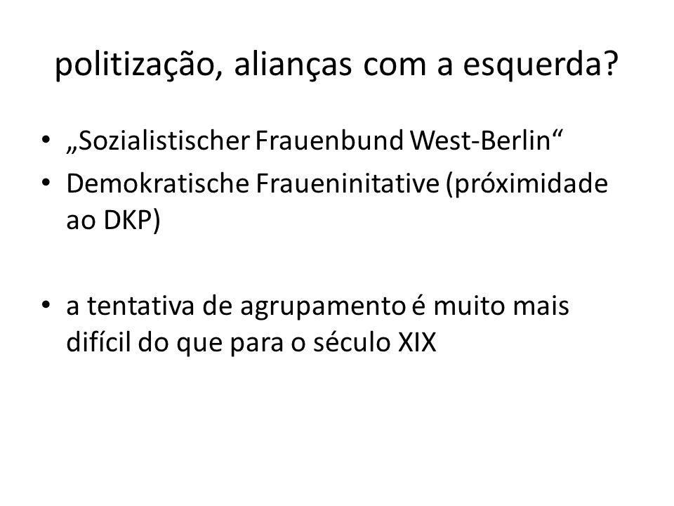 politização, alianças com a esquerda? Sozialistischer Frauenbund West-Berlin Demokratische Fraueninitative (próximidade ao DKP) a tentativa de agrupam