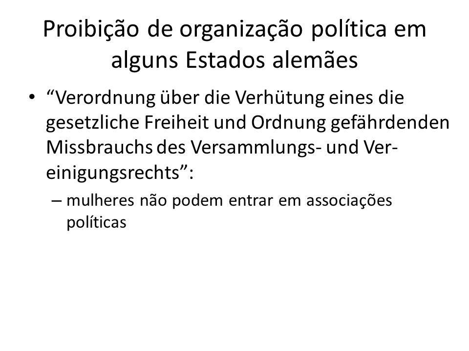 15 de maio de 1908 plena liberdade para associações de mulheres (Vereinsfreiheit) mulheres podem entrar oficialmente em partidos políticos
