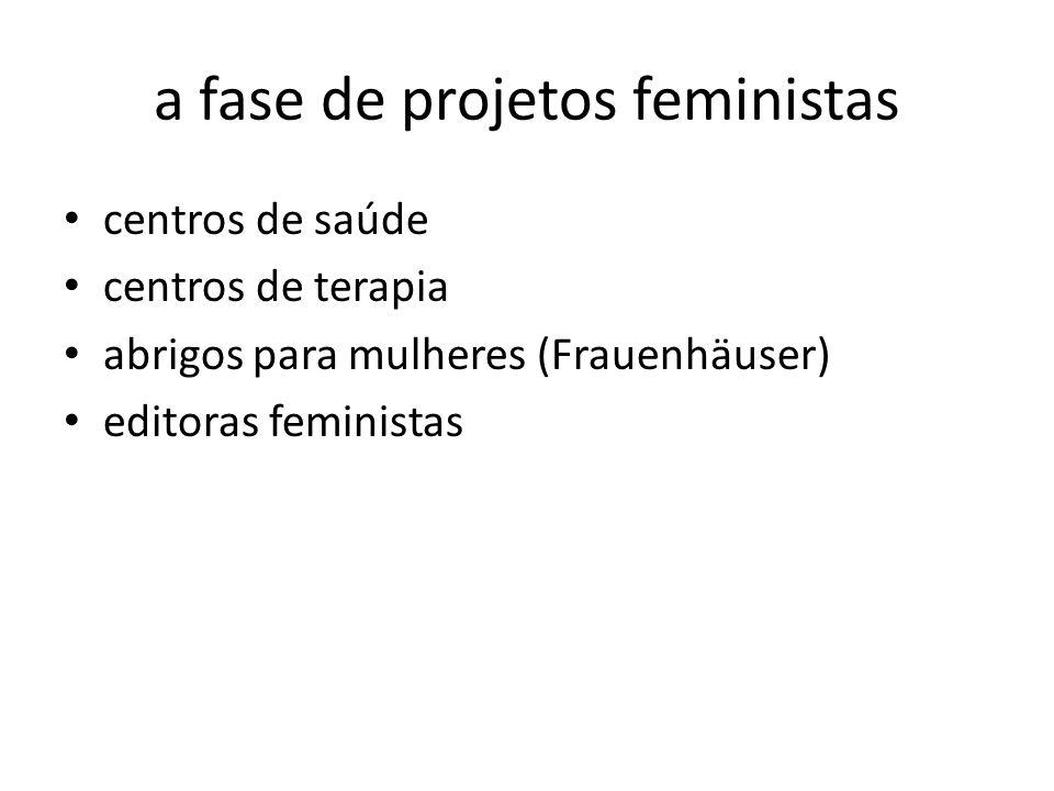 a fase de projetos feministas centros de saúde centros de terapia abrigos para mulheres (Frauenhäuser) editoras feministas